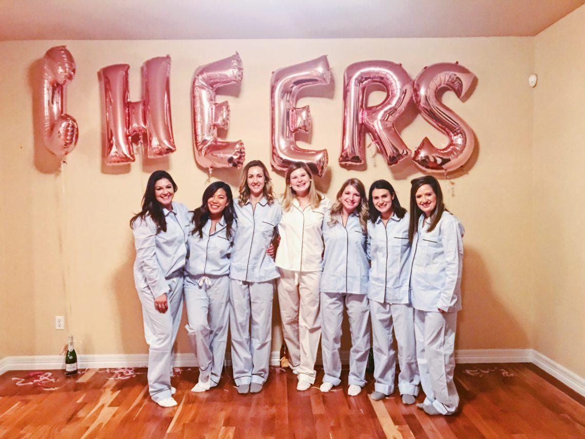 Cheers Balloons with bridal party matching PJs 65187b9f4